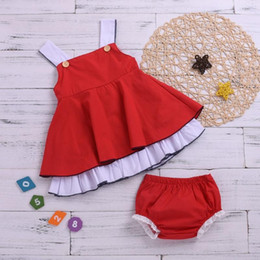 Girls Shorts Braces NZ - Girl Summer 2PCS Outfit Toddler Red braces Tops + red lace shorts Set Girl Clothing Sets for 0-2T