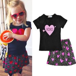 8a26f4cd379b Summer Little kids letter love heart arrow printed short sleeve T-shirt+polka  dots skirt 2pcs sets Baby girls valentine s day outfits F2983
