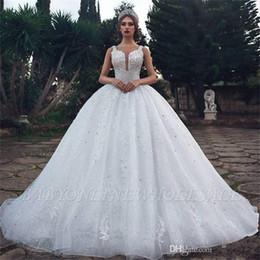 bbd8626394da84 Atemberaubende Prinzessin Ballkleid Arabisch Brautkleider Saudi Dubai Weiß  Applikationen Perlen Puffy Rüschen Rock Lange Brautkleider Plus Größe