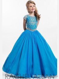 Hand model designing online shopping - Vintage Light Blue Flower Girls Dress with Gathered Twirl Design Square Neck Lace Pageant Dress For Girls Lovely Baby Birthday Dresses