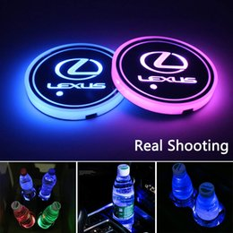 $enCountryForm.capitalKeyWord Australia - 2pcs LED Car Cup Holder Lights for Lexus, 7 Colors Changing USB Charging Mat Luminescent Cup Pad, LED Interior Atmosphere Lamp