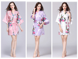 Silk kimono Set online shopping - Floral Kimono pajams summer girls lady nightdress styles silk sleepwear women night gown V neck pjms
