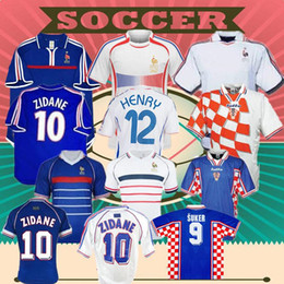 france away soccer jersey NZ - 1998 FRANCE RETRO VINTAGE ZIDANE HENRY MAILLOT DE FOOT soccer jerseys uniforms Football Jerseys shirt Trezeguet away finals 2006 white 2000