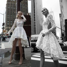 $enCountryForm.capitalKeyWord NZ - Sexy Backless Short Lace Wedding Dresses A Line Bohemian Beach Boho Short Bridal Gowns Vintage High Low Bride Dress Long Sleeves Custom Made
