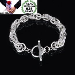 $enCountryForm.capitalKeyWord NZ - OMHXZJ Wholesale Personality Fashion OL Unisex Party Wedding Gift Silver Circles Chain Thick 925 Sterling Silver Bracelet BR115