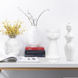 $enCountryForm.capitalKeyWord Australia - lanter design White Nordic Design Flower Planter 3D Face Shape Ceramic Vase Pot Plant Art Flower Pot Decorative Home Holder Garden Access...