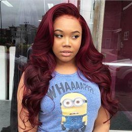 burgundy red hair color black women NZ - Synthetic Lace Front Wigs Burgundy Color Natural Long Wavy Hair Wine Red Wigs With Natural Hairline for Black Women Daily Wear