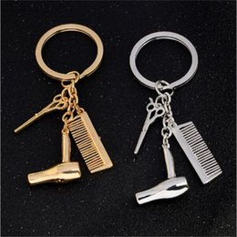 $enCountryForm.capitalKeyWord Australia - 100pcs scissors keychain cute key ring for women comb hairdryer key chain key holder creative bag charm keyring R345