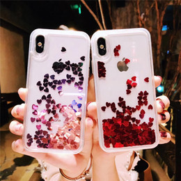 $enCountryForm.capitalKeyWord NZ - Dynamic Love Heart Liquid Quicksand Phone Case For iPhone MAX XS XR Hard PC Cases For iPhone 6 6S 7 8 7P 8P Clear Capa