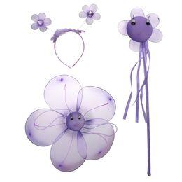 Discount kids wands - Fairy Princess Kid Costume Sets Girls Flower Wings Wand Headband Purple