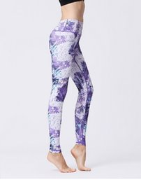 yoga workout pants UK - 2019 Women Yoga Pants Printed Quick drying Fit Sport Elastic Fitness Gym Pants Workout Running Tight Sport Female Trousers gym pants