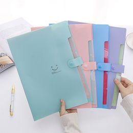 $enCountryForm.capitalKeyWord NZ - NewStudent multi-layer folder smile face A4 organ bag File bag insert information book paper clip 5 grid blue purple pink green