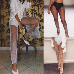 Wholesale see through bikini online – Womens Fishnet Rhinestone Trousers Clubwear Glitter Bikini Cover Up Mesh Pants Fashion Sexy Slim Hollow See Through Cover Ups