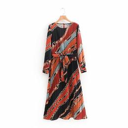 $enCountryForm.capitalKeyWord UK - Women Vintage Chains Printing Press Pleated Long Dress Ladies Chic Bow Tied Sashes Vestidos O Neck Stylish A Line Dresses Ds1384