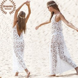 Hot Sexy White Dresses Australia - HOT White Embroider Bikini Cover Up SEXY Women Lace Beach Tunic Graceful Sweet See-through Dress Swimsuit Cover-up
