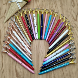 Crystal offiCe supplies online shopping - Fashion Color Luxury Big Crystal Diamond Ballpoint Pens Fashion School Office Supplies NEW Design Big Gem Metal Ball Pen Student Gift