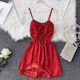 bohemian style pants NZ - 2019 New Women Wide Leg Short Pants Playsuits Bohemian Style Cute Dot Bow Chiffon Jumpsuits Ladies Sexy Bodysuits Beach Wear Y19051601