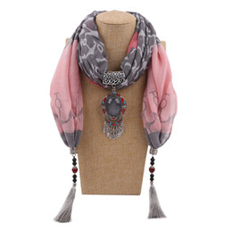 wholesale designer cotton scarves UK - Jewelry Tassels Pendant Scarf Necklaces Ladies Fashion Bufandas Designer Cotton Scarves For Women Clothing Accessories