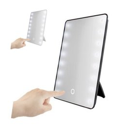 touch screen lamp NZ - 16 LED Lighted Makeup Mirror With Light Lamp Portable Touch Screen Cosmetic Mirror Beauty Desktop Vanity Table Stand Mirrors Y200114