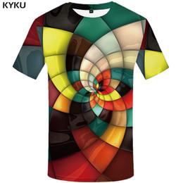 Ivory Lycra Shirt Australia - wholesale Brand Plaid T shirts Men Geometric Tshirt Homme Stripes Tshirts Casual Vortex T shirt 3d Colorful Print Mens
