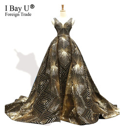 Sparkle Dress Up UK - Gold Black A-Line Sexy Sequins Sparkle Evening Dresses Overskirts Train 2019 High-end Luxury V Neck Formal Evening Gowns Vestido De Noiva