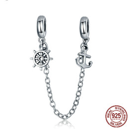 anchor bracelet sterling silver NZ - Fashion New Arrival 925 Sterling Silver Voyage Anchor & Rudder Safety Chain Stopper Charm fit Bracelet Bangles Jewelry