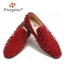 $enCountryForm.capitalKeyWord Australia - Piergitar 2018 Four Colors Handmade Rivets Fashion Party Prom Men Loafers Red Bottom Plus Size Leather Casual Shoes Y190702