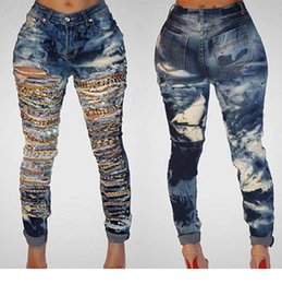 $enCountryForm.capitalKeyWord Australia - Cave chain hole ripped jeans for women washed skinny jeans woman new denim plus size high waist destroyed ladies jeans womens feet pants Z40
