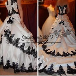 Wedding Gown Draped Back Australia - 2019 Sweetheart Gothic Lace Applique Tiered White And Black Bridal Dress Long Back Lace Up Satin Elegant Bridal Wedding Gowns Draped