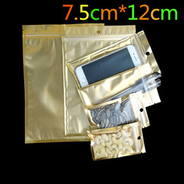 clear small plastic packaging NZ - Small 7.5*12cm Golden   Clear Self Seal Zipper Plastic Retail Packaging Pack Bag Zip Lock Storage Bag Package With Hang Hole