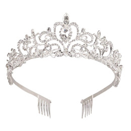 Chinese  Silver Crystal Tiara Crown Headband Princess Elegant Crown with combs for Women Girls Bridal Wedding Prom Birthday Party manufacturers