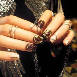 Artificial Chains Wholesalers Australia - Black Glitter UV False Nails Elegant Full Cover Finger Art Phototherapy Fake Nails Rivet Chain Design Artificial Full Nail Tips