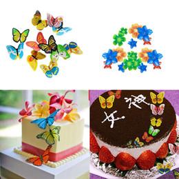100pcs / box farfalla fiori commestibili glutinosi wafer carta di riso torta cupcake toppers torta di compleanno strumento di decorazione di cerimonia nuziale in Offerta