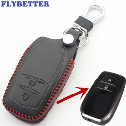 $enCountryForm.capitalKeyWord NZ - FLYBETTER Genuine Leather 2Button Keyless Entry Smart Key Case Cover For Toyota Corolla camry Crown Car Styling L91