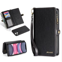 leather flip zipper case NZ - 2 in 1 flip magnet wallet leather case for samsung S20 S20 plus s8 s9 with zipper phone cover for iphone 11 pro xs max