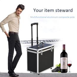 Vente en gros Multifonctionnel Baggage cadre en aluminium trolley casier en verre de vin rouge Boîte à outils boîte de rangement sac de voyage universel valise 4 roues sacs à bagages