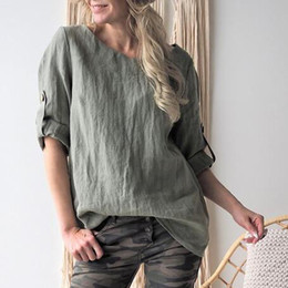 $enCountryForm.capitalKeyWord NZ - Linen blouses for Womens 2019 Lafies Casual Solid Middle Sleeve O-neck Loose Vintage shirts Plus Size 5XL Top Half Blouses@35