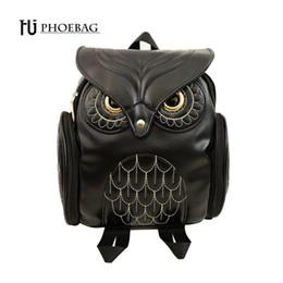 $enCountryForm.capitalKeyWord NZ - Hjphoebag Fashion Women Backpack Newest Cool Black Pu Leather Owl Backpack Female Hot Sale Women Shoulder Bag School Bags A07 Y19061102