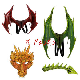 halloween costume wings Canada - Role Dragon Mask Wing Costume Party City Playing Children Dinosaur Costumes Boys Girls Halloween dragonwing Latex Loong Animal