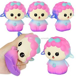 soft toy sheep wholesale Canada - Jumbo Cute sky color Sheep Squishy Colorful Rainbow Alpaca Slow Rising Straps Soft Squeeze Scented Bread Cake Fun Kid Toy Gift