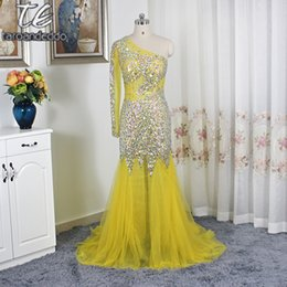 See Through Prom Dresses Rhinestones Australia - One Shoulder Long Sleeves Bling Bling Rhinestones Crystals Beading Prom Dress See Through Mermaid Yellow Shiny Evening Gowns Y19042701