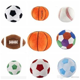 basketball toys for boys UK - Kids sphere toys Cartoon spherical pillow Baby Plush Dolls Imitation football basketball baseball Toy For Boy Birthday Gift LXL755-1
