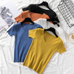 Wholesale summer jumpers resale online – Autumn Tops V Neck Female Pullovers New Short Casual Knitted Sexy Summer Fashion Solid Sweater Women Jumper T Shirt X974