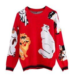 14d804202318 Navidad divertido Tops señora suéter 2018 nuevo dulce 7 gatos patrón de  punto rojo suéter elegante mujeres Jumper