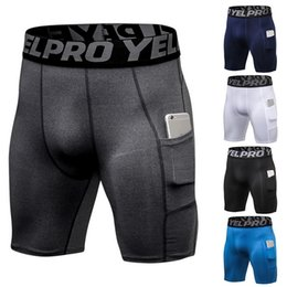 Wholesale compression shorts bodybuilding online – 2020 New Mens Compression Shorts Line Short Tights Skinny Bodybuilding Breathable Man s Bottom Fitness Pocket Shorts