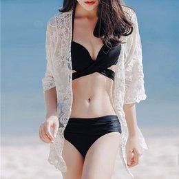 $enCountryForm.capitalKeyWord NZ - New Women Sexy Summer Lace Rose Tops White Cardigan Bikini Beach Cover Up Blouse