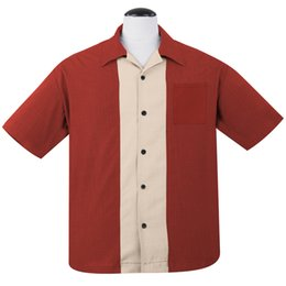 $enCountryForm.capitalKeyWord UK - Classic Bowler k Mens L-XXXL Plus-Size Men's Clothing New Wine Red Cream White Patchwork Short Sleeve Rock Shirt Vintage Bowling Stone Shirt