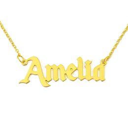 $enCountryForm.capitalKeyWord Australia - Chain Necklaces Personalized Name Necklaces & Pendants Old English Nameplate Necklace Name Choker Handmade Birthday Gift