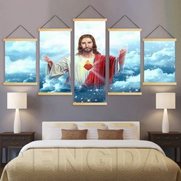 $enCountryForm.capitalKeyWord Australia - 5 Pcs Wall Art Canvas Print 5 Piece Painting Christian Jesus Picture Solid Wood Hanging Scrolls Home Decoration For Living Room