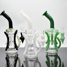 $enCountryForm.capitalKeyWord UK - 12 inch black dab rig with glass bowl green white recycler oil rig glass water pipe inline perc glass bongs
